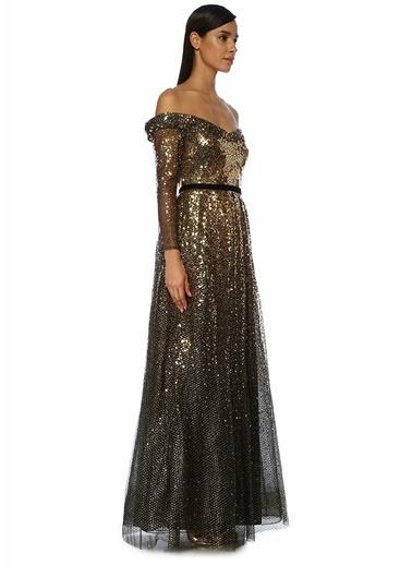 Marchesa Notte Marchesa Notte  Düşük Omuzlu İşlemeli Maksi Abiye Elbise 101489749 Siyah